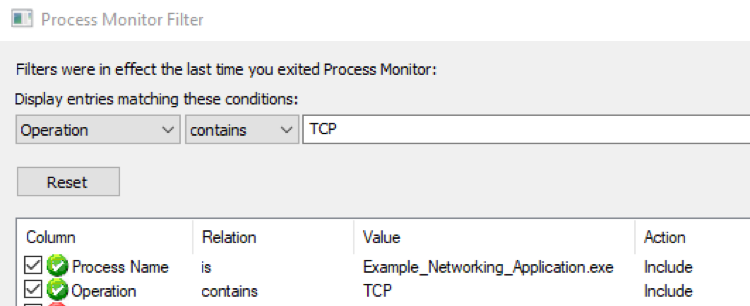 Desired Filter TCP