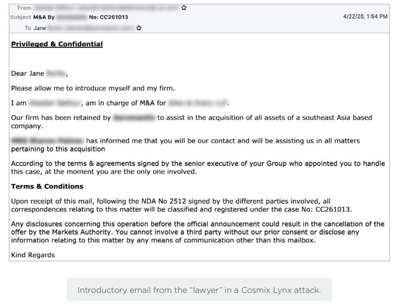 Example BEC email targeting a company executive